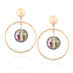 Artificial Gem Metal Circle Ball Drop Earrings Golden (190 RUB) ❤ liked on Polyvore featuring jewelry, earrings, fake earrings, circle drop earrings, metal jewelry, ball earrings and imitation jewelry