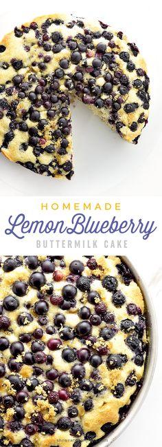 Homemade Lemon Blueberry Buttermilk Cake Recipe | shewearsmanyhats.com