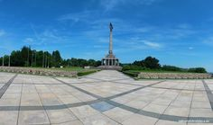 Slavin is a memorial monument and military cemetery of almost 7 000 Soviet soldiers who fell during the World War II while liberating the city in April 1945 Bus Number, Military Cemetery, Romantic Times, Bratislava, Green Trees, Great View, World War Ii, Paths, Sidewalk