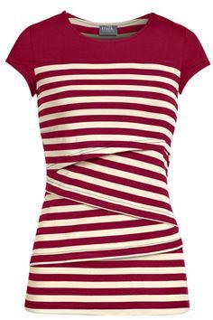 Striped solid yoke nursing top | Red