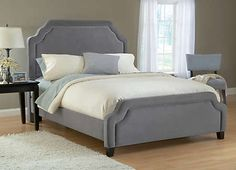 Carlyle Queen Pewter Uph Bed - Art Van Furniture