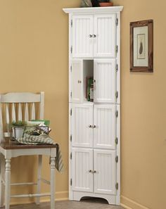 Storage Furniture - Make the most of your space with this tall corner cabinet offering plenty of room to hide away canned goods and a host of other items. Come Home to Comfortable Living Through the Country Door! White Corner Cabinet, Corner Pantry Cabinet, Corner Storage, Kitchen Cabinet Doors, Kitchen Pantry, Corner Cabinets, Office Storage, Kitchen Cabinets, Bathroom Corner Cabinet