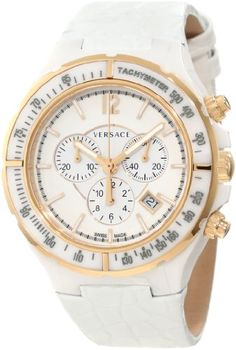 Versace Men's Dv One White Ceramic Case with Rose Gold IP Tachymeter Bezel... - http://watchesntime.com/versace-men-s-dv-one-white-ceramic-case-with-rose-gold-ip-tachymeter-bezel/