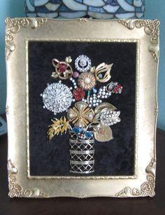 Vintage Ooak Framed Costume Jewelry Rhinestone Flower Vase Art By Michelle L@@k