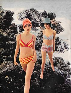 June 1968. 'Splash-dashy suits hit the Hawaiian coast with a fizz of color. Cool.'