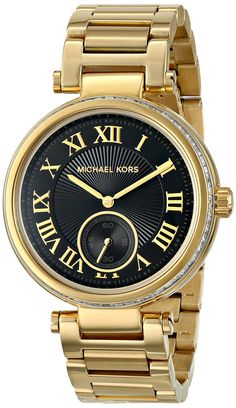 Michael Kors MK5989 Women's Skylar Gold Stainless Steel Black Dial, Gold/Black