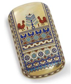 A SILVER-GILT AND CHAMPLEVÉ ENAMEL MARKED KHLEBNIKOV WITH THE IMPERIAL WARRANT, MOSCOW