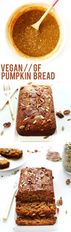 1 Bowl Vegan Gluten Free Pumpkin Bread that's moist perfectly spiced and sweet and seriously simple! Ideal for breakfast snacking and fall gatherings.