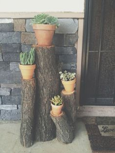 Check out these Frugal Front Porch Decorating Ideas to take your entryway from drab to fab without breaking the bank! // could have those logs next to the porch entry on both sides in flower beds! Diy Balkon, Adirondack Furniture, Building A Porch, House With Porch, House Front, Decks And Porches, Plantar, Terracotta Pots, Porch Decorating