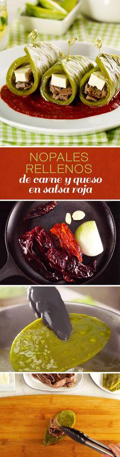 Deliciosa y nutritiva receta de nopales rellenos de carne y queso en salsa roja. Esta receta ligera es perfecta como cena si estás a dieta o quieres bajar de peso, pues los nopales son altos en fibra y excelentes para personas con diabetes. Authentic Mexican Recipes, Mexican Food Recipes, Vegan Recipes, Cooking Recipes, Healthy Foods To Eat, Healthy Snacks, Healthy Eating, Food Porn, Food C