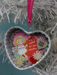 Magpie Ethel~ Vintage Style Valentine Ornament