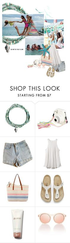 """""""go with the flow"""" by sharmarie ❤ liked on Polyvore featuring American Apparel, RVCA, Splendid and Birkenstock"""