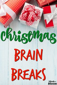 Every student needs a brain break now and then, and these fun and festive brain breaks are the perfect way to let them shake off the cobwebs while doing a fun game or activity with a holiday theme! Christmas Drama, Christmas Games, Christmas Music, Christmas Activities, Kids Christmas, Christmas Crafts, Xmas, Freeze Dance, Reindeer Names