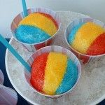 snow cone cupcakes    super cute for a circus theme bithday party..its like eatting a snow cone with out the mess! love it! & no need to deal with frosting!