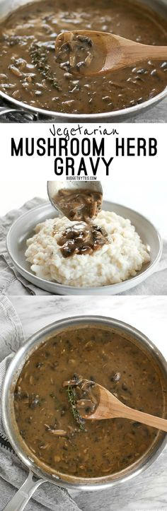 This one quick, easy, and insanely flavorful Mushroom Herb Gravy will satisfy both meat eaters and vegetarians alike. Step by step photos. @budgetbytes