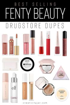 Best Selling Fenty Beauty Drugstore Dupes – Creativity Jar Want affordable dupes for Fenty Beauty best sellers? Check out this roundup of the best selling Fenty Beauty Drugstore Dupes to get the Fenty look for less. Dupes Nyx, Blush Dupes, Eyeshadow Dupes, Skincare Dupes, Beauty Dupes, Beauty Makeup, Mac Lipstick Dupes, Skin Makeup, Best Drugstore Matte Foundation