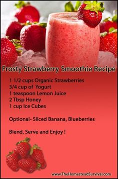 Frosty Strawberry Smoothie Recipe » The Homestead Survival
