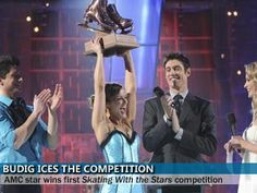 Rebecca Budig & Fred Palascak win on the show Skating With The Stars. Reality Tv Shows, Skating, Competition, Stars, Concert, Roller Blading, Sterne, Concerts, Star
