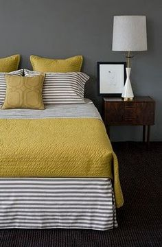 Yellow and gray. OMG love this.  if ONLY I could change my bedroom every two years!