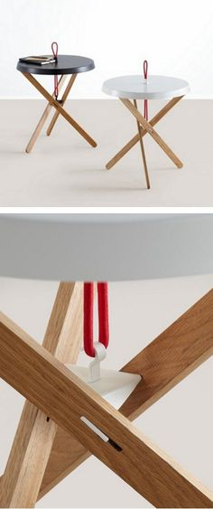 Round steel and wood coffee #table MARIONET by MOX | #design Simon Busse