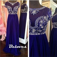 """Fabric:Chiffon Silhouette:A+Line Color:Royal+Blue Embellishments:Beading Sleeves:Cap+Sleeves Custom+Made+:+We+also+accept+custom+made+size+and+color+.+Please+click+the+""""contact+us+""""and+send+your+size+and+color+to+our+email+.+Or+just+leave+a+message+to+us+when+placing+the+order+."""