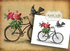 LITTLE BIKE - 2 Digital Sheets Printable Images to print on fabric / paper, Iron On Transfer for tote bags t-shirts pillows