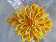 Sunflower Yellow Grosgrain & Organza Kanzashi by RosesBowses