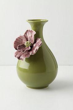 The earthy green makes this vase sing for me! Rose Of Sharon Grand Vase Flower Lamp, Flower Vases, Flower Arrangements, Ceramic Flowers, Ceramic Vase, Rose Vase, Rose Of Sharon, Ceramics Projects, Green Vase