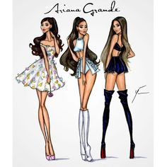 Ariana Grande Eras by Yigit Ozcakmak Which one is your fave? Fashion Design Drawings, Fashion Sketches, Arte Fashion, Ariana Grande Drawings, Illustration Mode, Illustrations, Hayden Williams, Celebrity Drawings, Fashion Figures