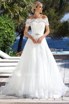 Tulle V-neck Sleeveless Appliqued Wedding Dress With Sweep Train - Dress Afford Fluffy Wedding Dress, Wedding Dress Trends, Wedding Dress Sleeves, Tulle Wedding, Bridal Wedding Dresses, Lace Dress, Bridesmaid Dresses, Backless Wedding, Gown Dress