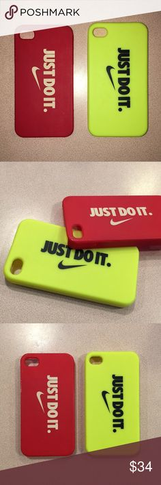 "Authentic Nike iPhone 5/5s Case Bundle This bundle consists of 2 Authentic Nike ""Just Do it"" logo iPhone 5/5s cases. Loved these cases, but switched phones!  - 1 Brand new neon yellow rubberized soft case - 1 Gently used Red hard case (had a crack in it that has been repaired completely; See middle image for barely noticeable repair glue) Nike Accessories Phone Cases"
