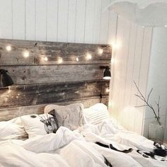 Pallet boards for headboards with big white lights if possible. If you come across a pallet please grab it or let me know. The boards pull apart easily and you nail them vertically the same length.