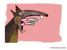 Ilustraciones Daniela Montané Trincado LA CAPERUCITA ROJA Moose Art, Animals, Red Riding Hood, Red, Illustrations, Animales, Animaux, Animal, Animais
