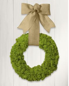 Moss Wreath with Burlap Ribbon   Williams-Sonoma