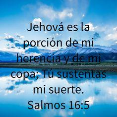 Jehová es la porción de mi herencia y de mi copa; Tú sustentas mi suerte. (Salmos 16:5 RVR1960)