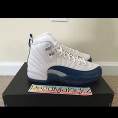 pretty nice 92ea3 43397 Nike Air Jordan 12 XII Retro White and French blue Jordan Shoes Sneakers
