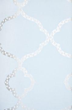 Gibraltar Trellis Wallpaper Light Blue Wallpaper with Metallic gilver and white dotted Trellis design.