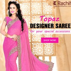 Buy Designer Topaz Designer Saree in Pink Colour at www.rachitfashion.com  #sarees #fashion #topaz #womenswear #clothing #shopping