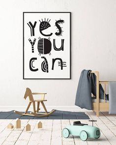 Dinky Mix black and white 'Yes You Can' art print for kids bed room. Perfect printable nursery decor, wall art inspired by African print. Instant Download Typography Posters. Empowering quotes for kids to go on the wall or a kids wall shelf. So, be brave little one and don't give up! You can do it!