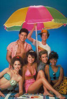 Still of Elizabeth Berkley, Mark-Paul Gosselaar, Tiffani Thiessen, Dustin Diamond, Mario Lopez and Lark Voorhies in Saved by the Bell (1989)