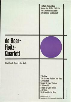 de Boer-Reitz-Quartett - Tonhalle Kleiner Saal - 8. Kammermusikabend - 1. Mai 1952-Plakat