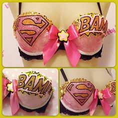 Are you serious!?!?!? Pink Superman  Comic Hero inspired Custom Sparkly by lilkittyko, $85.00