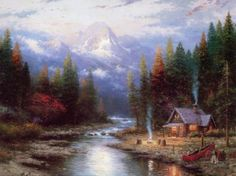 easy cabin paintings - Google Search