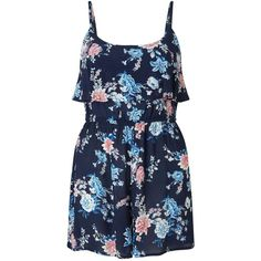 Miss Selfridge Petites Navy Floral Playsuit ($61) ❤ liked on Polyvore featuring jumpsuits, rompers, navy, petite, navy romper, floral rompers, floral romper, navy rompers and blue floral romper
