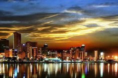 Durban by night. Pictures Of The Sun, Durban South Africa, Kwazulu Natal, Out Of Africa, Exotic Places, East Coast, South America, Beautiful Places, Places To Visit