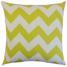 The Pillow Collection Maillol Zigzag Linen Throw Pillow Color: Linden, Size: x