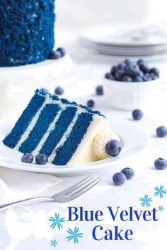 Blue Velvet Cake - A baJillian Recipes - Cake Recipes Bon Dessert, Dessert Cake Recipes, Delicious Cake Recipes, Best Cake Recipes, Cupcake Recipes, Yummy Cakes, Birthday Cake Recipes, Cookie Recipes, Vanilla Mug Cakes