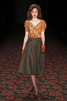 40's style fall outfit - a-lined olive brown skirt, rust orange floral top, brown beret and sweet brown leather gloves- Lena Hoschek