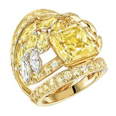 Fête des Moissons #Ring from #LesBlesDeChanel - #Chanel - #FineJewelry collection in 18K white & yellow gold set with a 6.5 carat #CutCornered rectangular modified #BrilliantCut fancy intense #YellowDiamond, 7 #FancyCut multicoloured #Diamonds (2.6 carats), 101 #BrilliantCut yellow diamonds (2.7 cts), 2 #MarquiseCut diamonds and 2 #BrilliantCut diamonds - July 2016