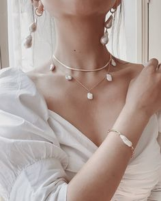 Keshi Pearl Gold Filled Necklace, Boho Wedding Jewelry, Boho Pearl Necklace, Freshwater Pearl Necklace, Bridal Jewelry Pearl Choker - new season bijouterie Cute Jewelry, Boho Jewelry, Bridal Jewelry, Jewelry Design, Fashion Jewelry, Jewelry Ideas, Pearl Wedding Jewelry, Vintage Jewelry, Fabric Jewelry